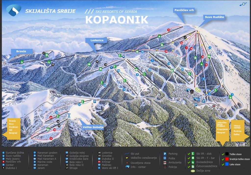 Kopaonik: Mapa ski staza